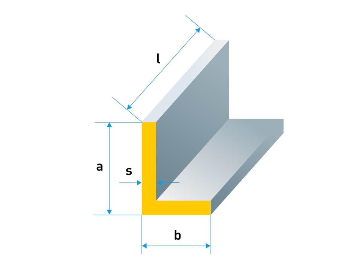 Abmessungen für ein Winkelprofil
